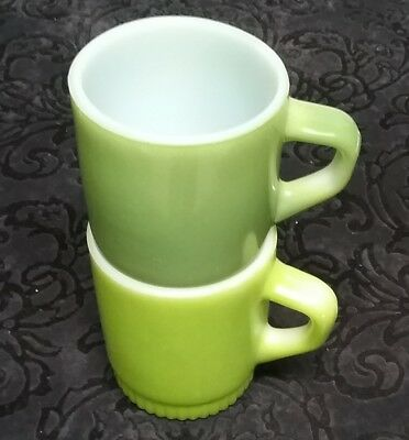 2 Vintage Fire King Anchor Hocking Stacking D Handle Mug, 8 Ounce Green Cups