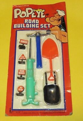 New 1979 POPEYE Road Building Set Mint on card, plastic partly pulled from card
