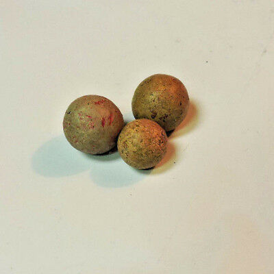 Lot of 3 Clay? Stone? Unglazed Old Antique Marbles Tan w/ Brown Fleck, Red Fleck