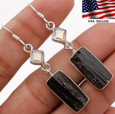 9g Rough Black Tourmaline 925 Solid Sterling Silver Earrings Jewelry, A6-4