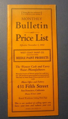 Old Vintage 1932 BEEDLE PAINT Products PRICE LIST / Catalog - San Francisco CA.