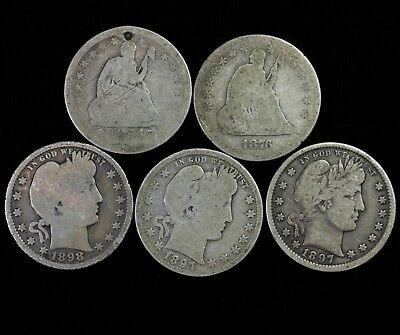 Seated Liberty & Barber Silver Quarter Set US 25 Cent (5) Coins Lot #C11