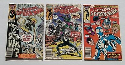 Lot of 3 Amazing Spider-Man 279,280,281 VF- Black Costume Silver Sable Rhino