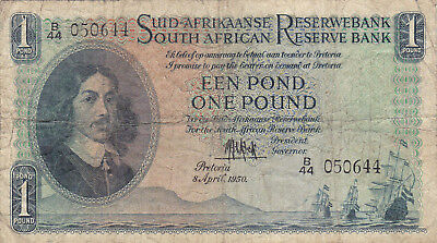 1 Pound Vg Banknote From British South Africa 1950!pick-93