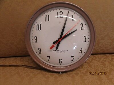 Vtg Westclox Electric Wall Clock Time Art Wall Art Office Den Library USA WORKS