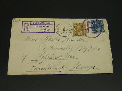 Canada 1928 Sudbury Ont registered cover to Finland *6687