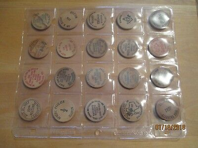 20 Wooden Nickels, TX, PA, CA, NY, AR, NB, WA, WI etc. all one price