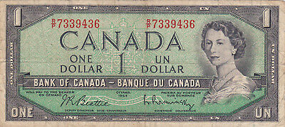 1 Dollar  Fine Banknote From Canada 1954!pick-74