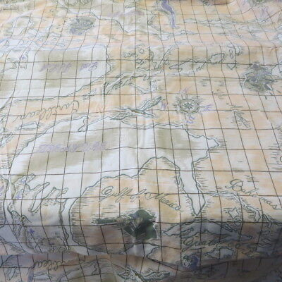 "Vintage Cotton Fabric MAPS,PIRATE SHIPS,TREASURE CHESTS 58""W by 3+ Yds."