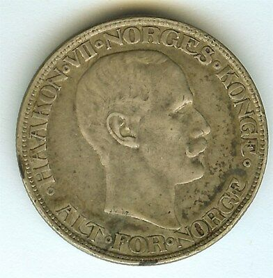 Norway 1917 2 Kroner  Km#370  About Uncirculated