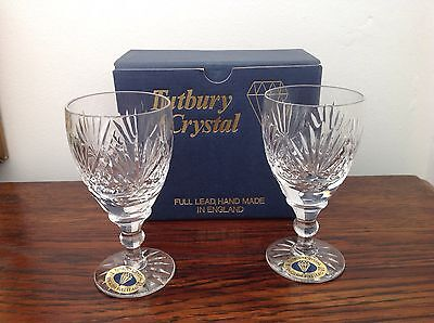 Tutbury Crystal, Full Lead Hand Made In England, Pair Of Sherry Glasses, Boxed