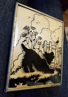 Vintage Scottie Dog Reverse Silhouette Painting on Convex Glass ~ Metal Frame