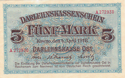 5 Mark  Fine Crispy Banknote From German Occupied Baltic 1918!pick-R130