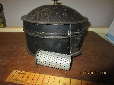 Antique Georgian / Victorian Spice tin with 3 compartments and Nutmeg Grater