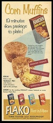 1953 Flako corn muffin cupcake cookie biscuit pie crust mix vintage print ad