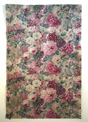 Rare & Beautiful 1930? French or English Printed Cotton Floral Fabric  (2197)