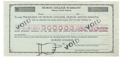 1930'S HURON, SOUTH DAKOTA, COLLEGE WARRANT DEPRESSION SCRIP, SD125-Vc