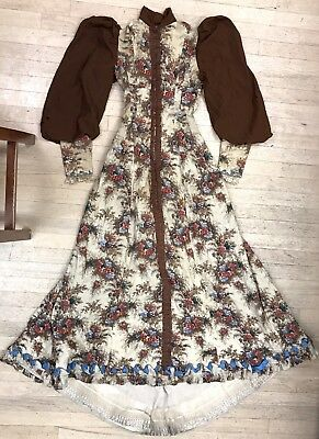 Antique 18th century 1770s floral robe a la francaise gown leg o mutton sleeves
