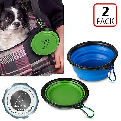 2x Portable Travel Collapsible Foldable Cat Dog Food Water Dish Bowl [FDA Grade]