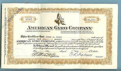 AMERICAN GYRO COMPANY SIGNED 1932 CERTIFICATE for 10,000 SHARES OF STOCK!