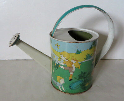 Vintage Chein Tin Water Can Sprinkling Painted Child's Garden Picnic