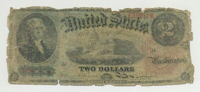 $2 Series 1869 Fr. 42 Rainbow United States Note in well circulated condition