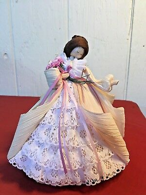 Beautiful Authentic Nan's Corn Husk Wedding Doll with Basket of Flowers