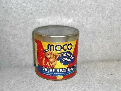 Vintage MOCO Monkey Grip Can - valve stem heat units - paper can tin lid bottom