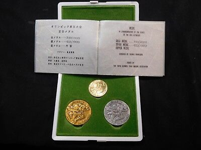 T24 Japan 1964 Gold & Silver Medal Olympic Commemoration 3 pc Medal w/ COA