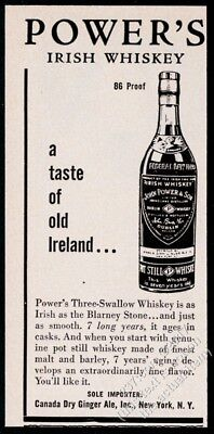 1954 Power's Irish Whiskey bottle art vintage print ad
