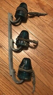 3 Blue Green Glass insulators with mounting bracket Found Old Estate