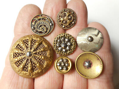 "Lot of 7 Cut Steel Steel in Brass Victorian Antique Buttons 1-1/8"" to 1/2"""