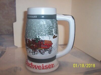 Vintage 1982 Budweiser 50th Anniversary Clydesdales Holiday Beer Stein 1933-1983