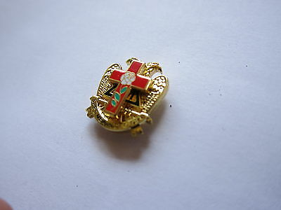Lapel Pin Masonic Rose Croix Cross Beautiful Multi Tier