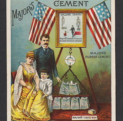 Patriotic 1800's American Flag Majors Rubber Cement Glue Advertising Trade Card