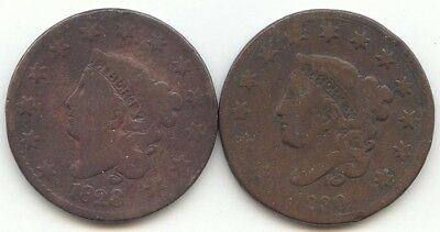 2 Coronet Head Large Cent,1828,1830,Both Good or Better,True Auction,No Reserve
