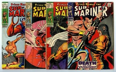 Sub-Mariner #6,9,11,12 Avg VG Marvel Comics
