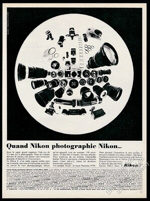 1969 Nikon F camera & many lenses photo unusual French vintage print ad