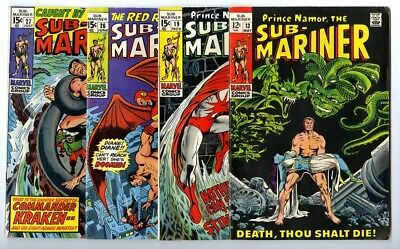 Sub-Mariner #13,19,26,27 Avg VG+ Marvel Comics