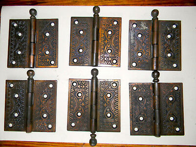 "7+ ELABORATE 4"" DOOR HINGES  Antique Eastlake Victorian - St. Louis MO. Relic"