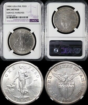 1908-S US/Philippines Peso ~ NGC Uncirculated Details ~ Allen#17.03 ~ 80% Silver