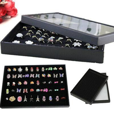100Slot Ring Display Case Organizer Top Jewelry Storage Box Tray Holder with Lid