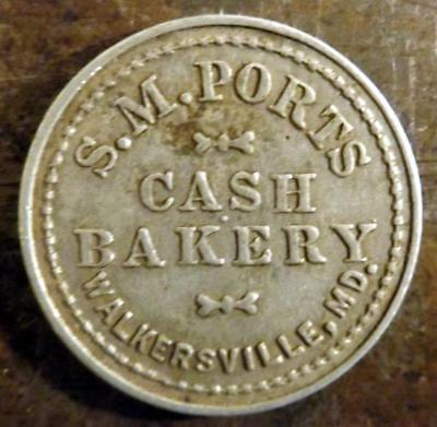 Vtg S.M. Ports  Walkersville, MD, Cash Bakery Good For Bread Merchant Token