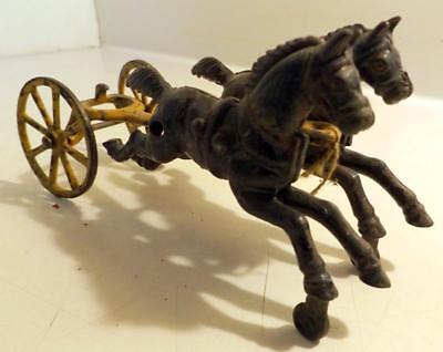 Antique Toy Part Cast Iron Fire Wagon Horses, Shaft & Front Wheels c1910s