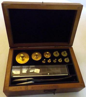 Fine Antique Set Analytical Brass Scale Weights A.H.Thomas Co Phila. c1910s