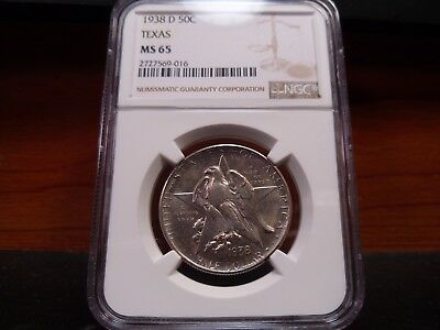 1938-D MS65 Texas Silver Commemorative NGC Certified Gem - White/Pastel Hues