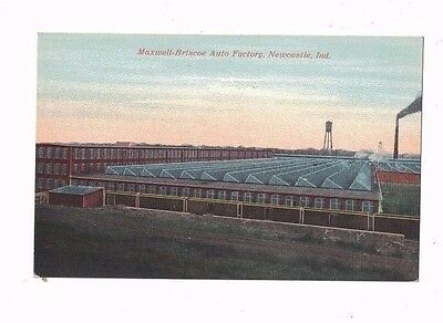 Early 1900's Maxwell Brisco Auto Factory, Newcastle, Indiana Color Postcard