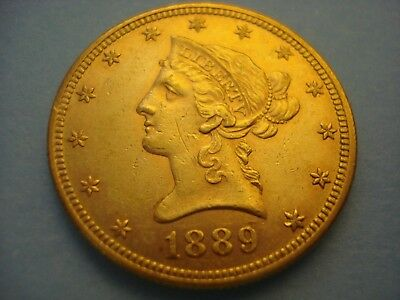 1889 United States $10 Liberty Gold Eagle Coin Philadelphia Mint Only 4,440