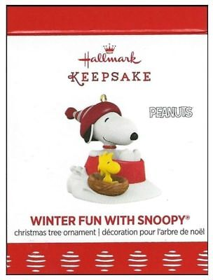 2017 Hallmark Peanuts Winter Fun With Snoopy Miniature Ornament!
