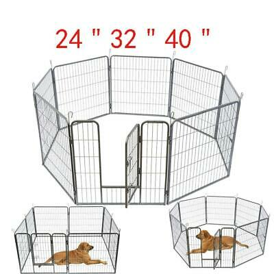 "New 24"" 32"" 40"" 8 Panel Heavy Duty Pet Playpen Dog Exercise Pen Cat Fence Silver"